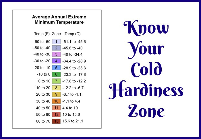 Cold Hardiness Zone Chart