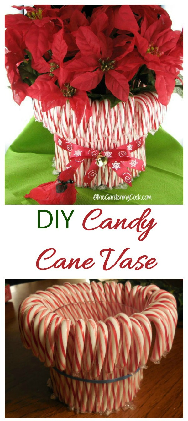 Make a DIY holiday vase for Christmas using candy canes