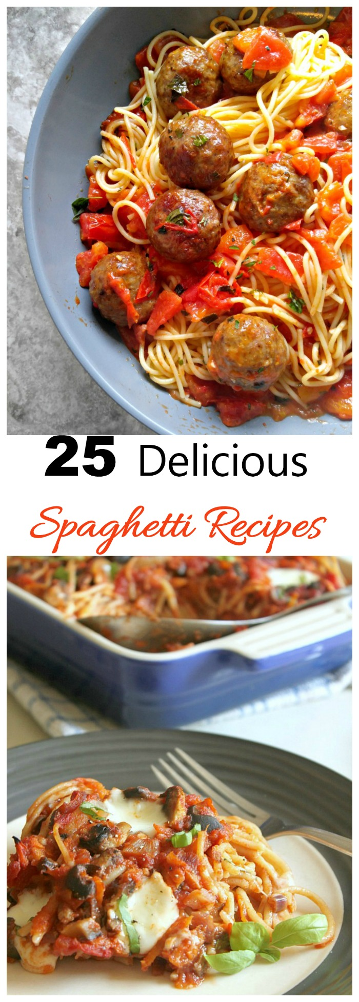 Here are over 25 delicious spaghetti recipes. Make Italian night a weekly feature at your house. #spaghettirecipes #spaghettisauce