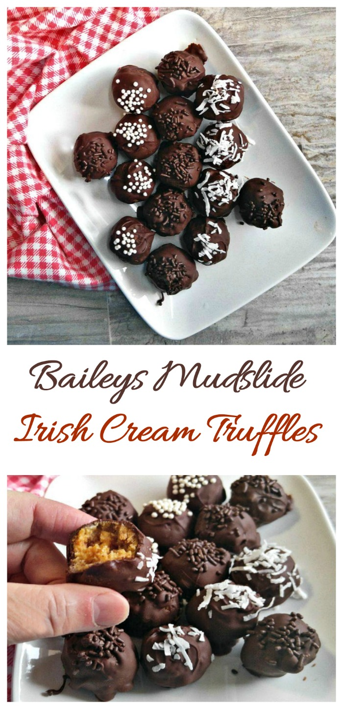 This Baileys Mudslide Truffle recipe used cookie crumbs and sugar infused with Irish Cream and Kahlua for a decadent truffle. #baileystruffles #mudslidetruffles