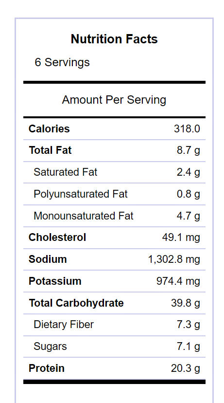 Beef and barley soup nutritional information