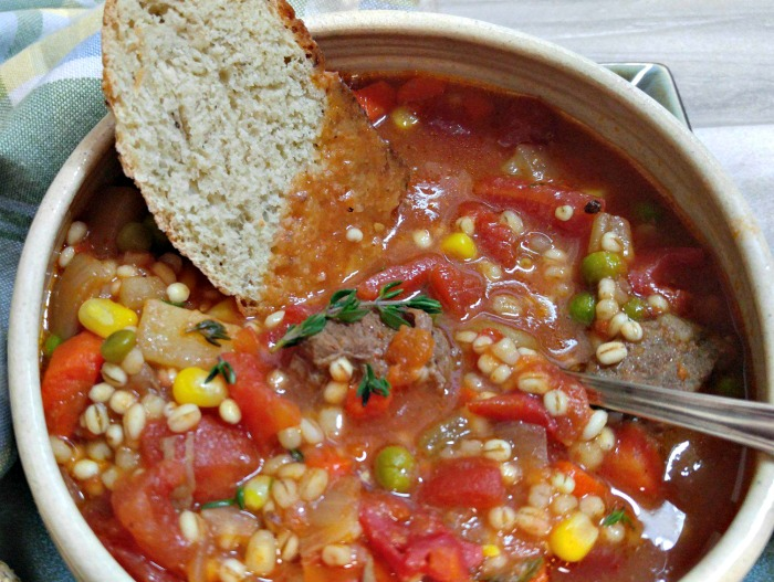Use crusty bread to sop up the juices of this vegetable beef barley soup