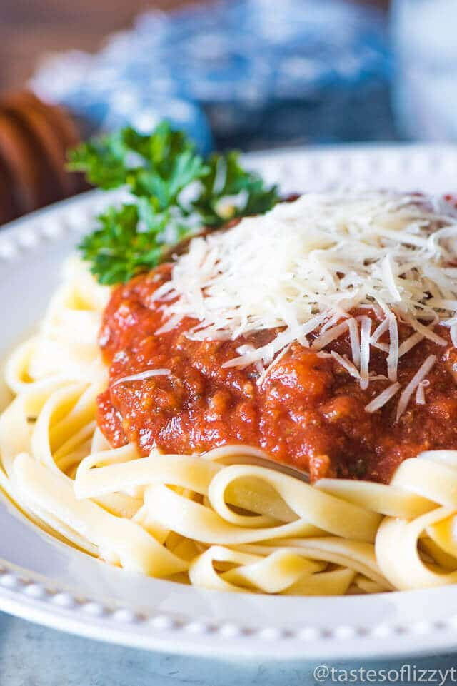 Healthy homemade spaghetti sauce from Tastes of Lizzy T