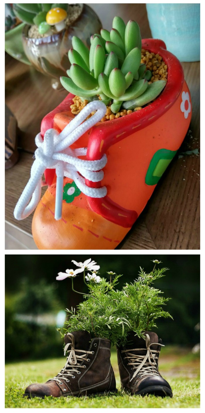 Use your old boots and shoes as garden planters for a whimsical look to any garden spot