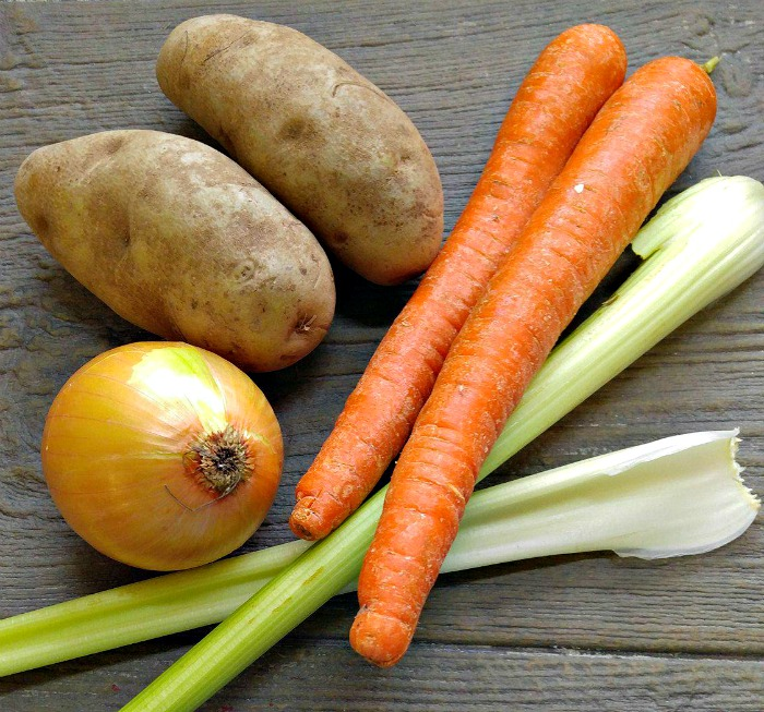 Potatoes, carrots, celery and onions make the base of my vegetable beef barley soup