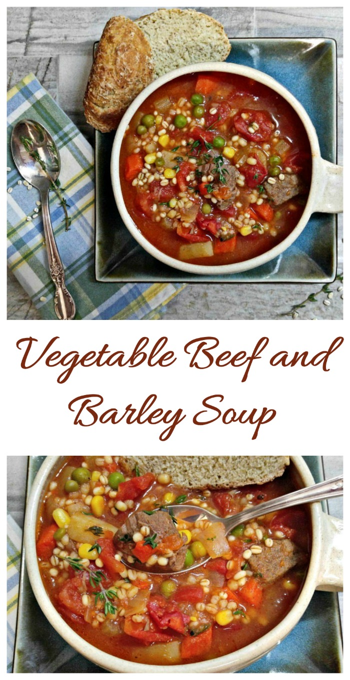 This Vegetable beef barley soup is the perfect comfort food for a cold winter night #barleysoup #vegetablesoup