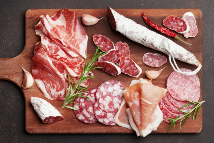 Have a variety of thinly sliced cured meats for an antipasto platter.