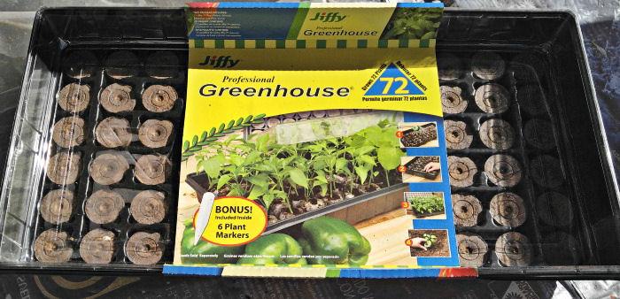 Jiffy peat pellet greenhouse