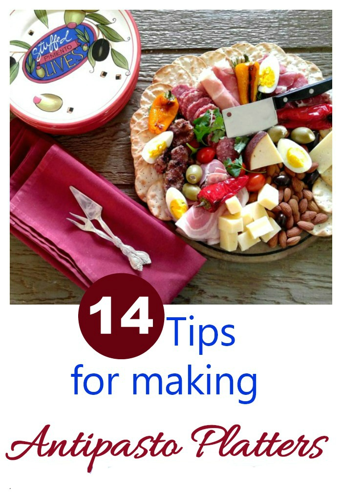 "Plate of meat and vegetables with text reading ""14 Tips for Making Antipasto Platters."""