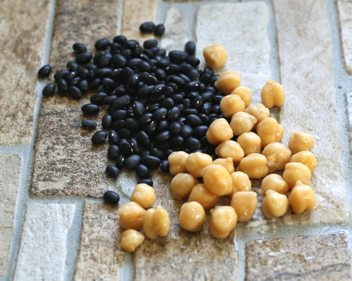 Black beans and chick peas are a good source of plant based protein.