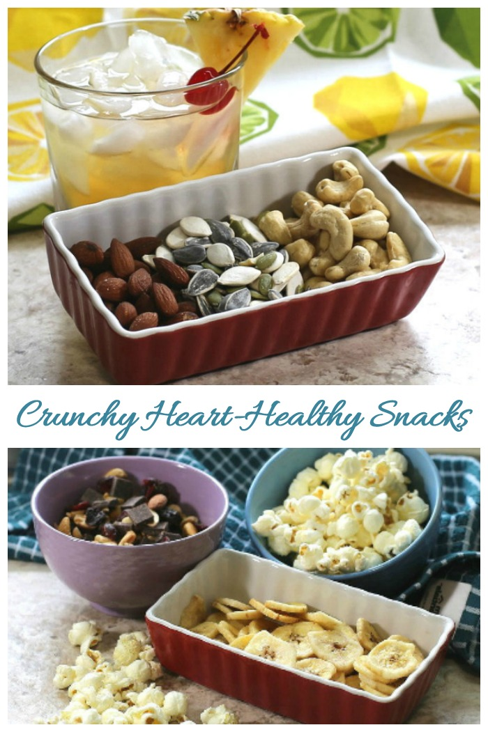 Crunchy snacks like seeds, nuts and air popped popcorn and good for your heart