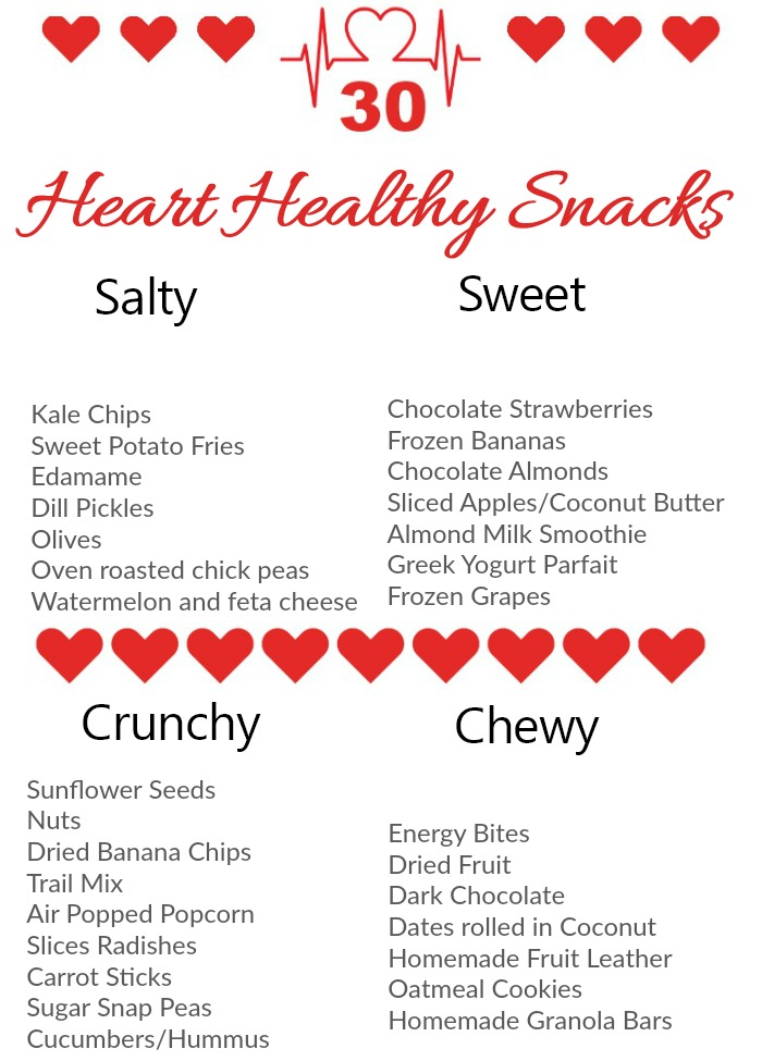 Print out this heart healthy snack cart for easy access to some smart food ideas for snacking.