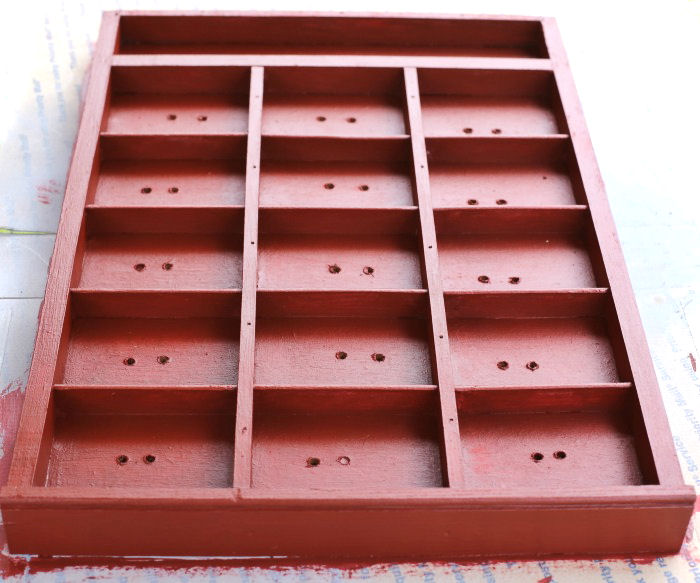Wooden drawer painted red