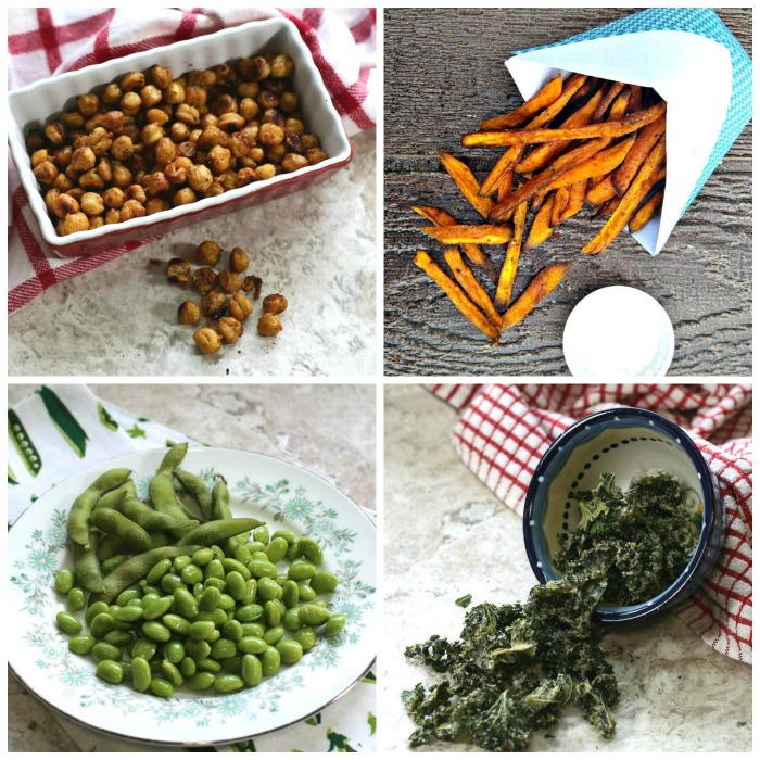 Roasted chick peas, sweet potato fries, edamame and kale chips are all good healthy salty snack foods