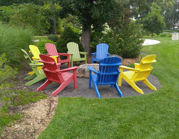 Adirondack chairs at Wellfield Botanical Gardens