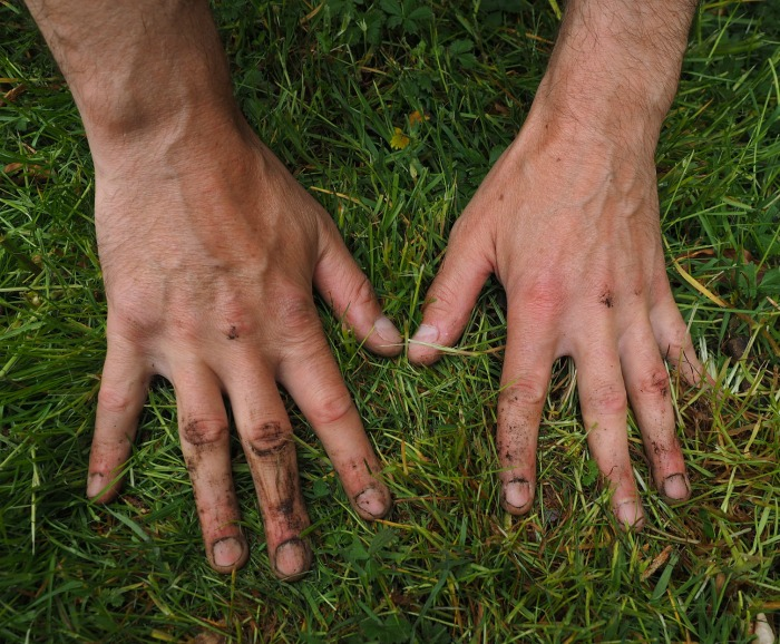 Dirty garden hands