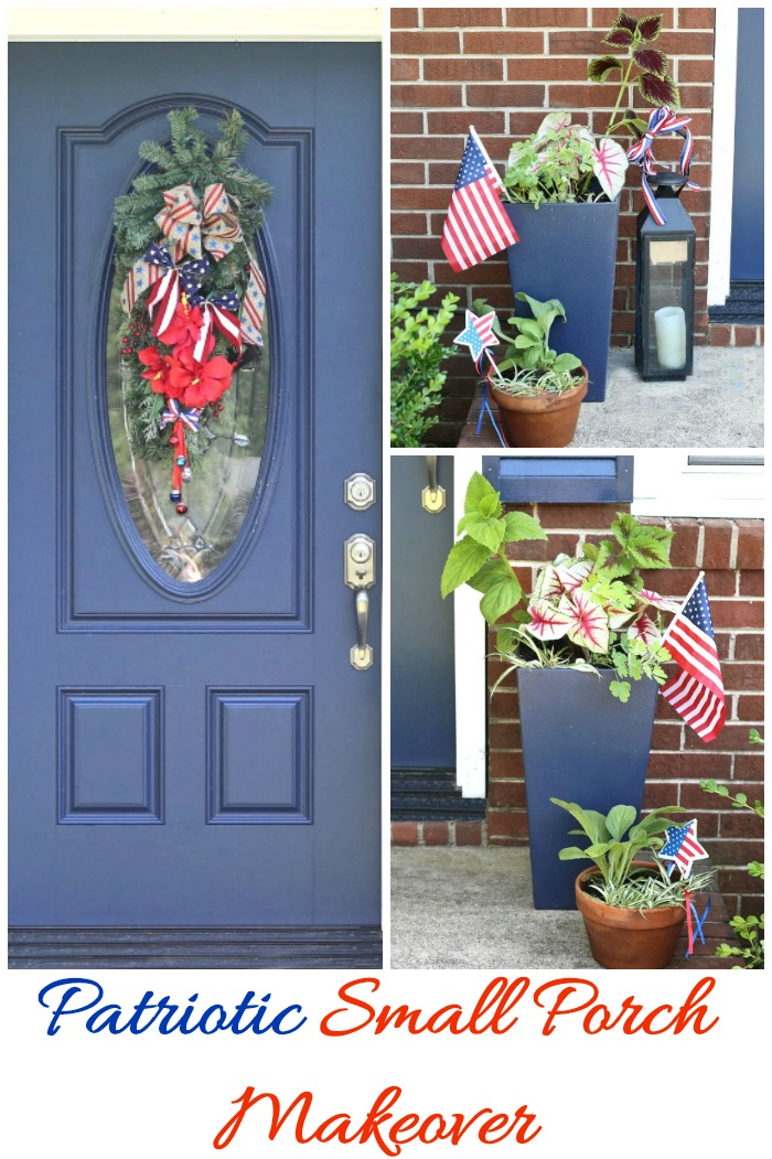 Patriotic small porch decor for the 4th of July greet gets with red white and blue decorations.