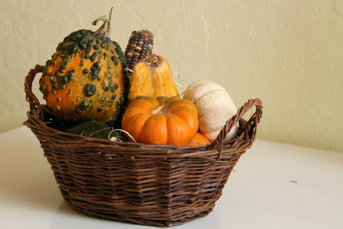 Deorative squash in a basket