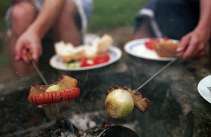 Campfire cooking means turning food often