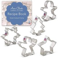 Christmas/Holiday Cookie Cutter Set with Recipe Book - 5 Piece - Snowflake, Star, Christmas Tree, Gingerbread Man and Angel - Ann Clark Cookie Cutters - USA Made Steel