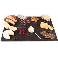"4 Sizes to Choose: Extra Large Stone Age Slate cheese boards (14""x20"" Serving Platter) with Soap Stone Chalk"