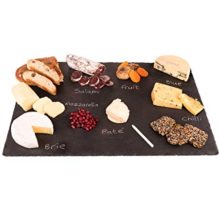 """4 Sizes to Choose: Extra Large Stone Age Slate cheese boards (14""""x20"""" Serving Platter) with Soap Stone Chalk"""
