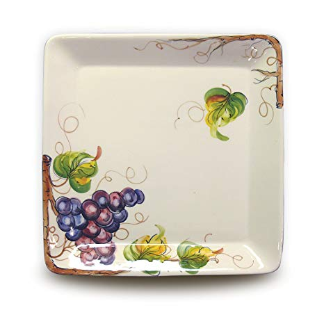 Hand Painted Square Platter with Grapes From Italy