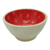 FLOOR | 9 Christmas Snowflake Pattern on Red Epoxy Wood Dip Bowl