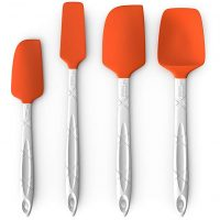 M KITCHEN WORLD Heat Resistant Silicone Spatulas Set | Rubber Spatula Kitchen Utensils Non-Stick for Cooking, Baking and Mixing | Ergonomic, Dishwasher Safe Bakeware Set of 4, Orange