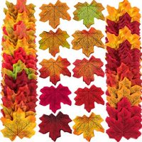 Zhanmai 500 Pieces 10 Colors Assorted Fake Silk Autumn Maple Leaves Artificial Fall Leaf Weddings, Events Decorating
