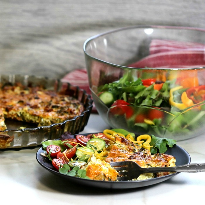 Simple quiche recipe and salad