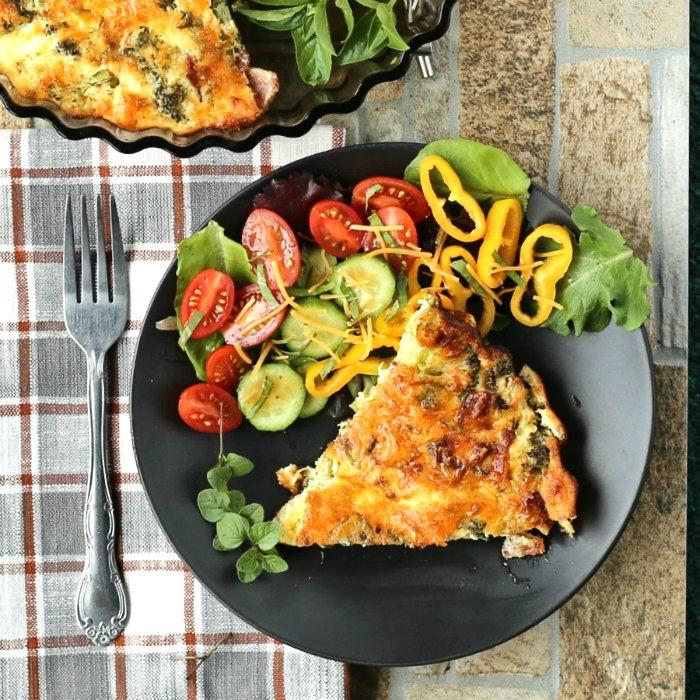 Garden Vegetable Crustless Quiche: Broccoli Cheddar Quiche Recipe