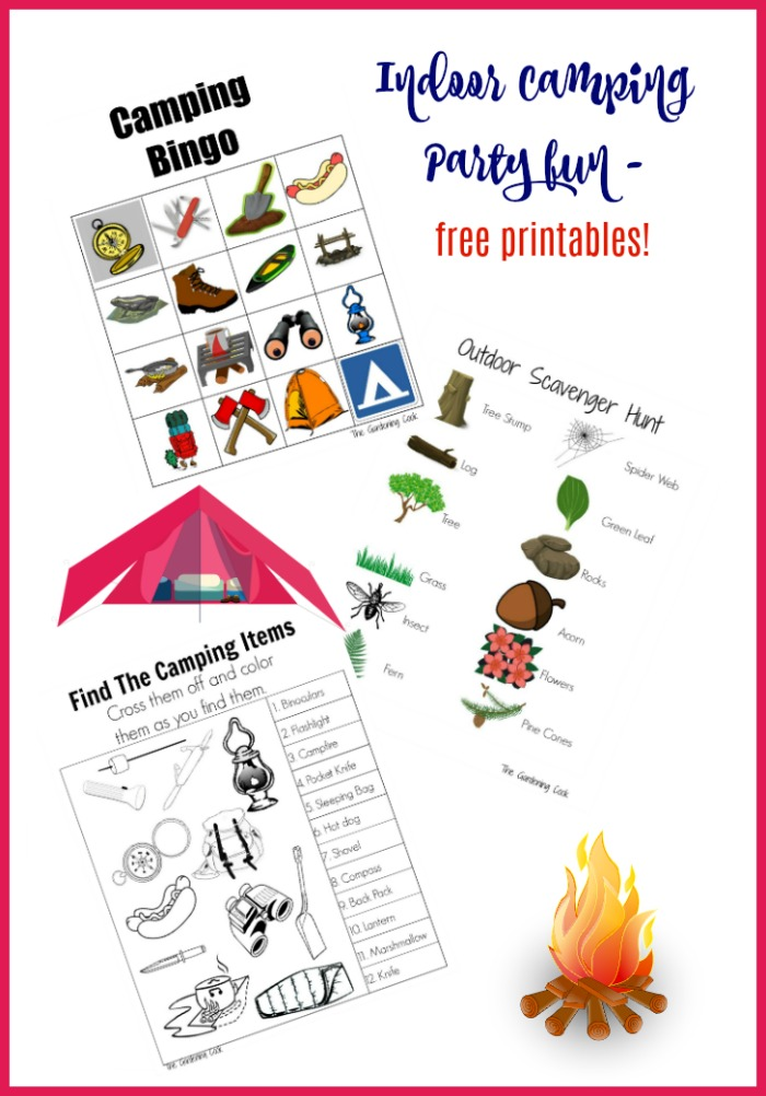 Check out these three free printables for your indoor camping party
