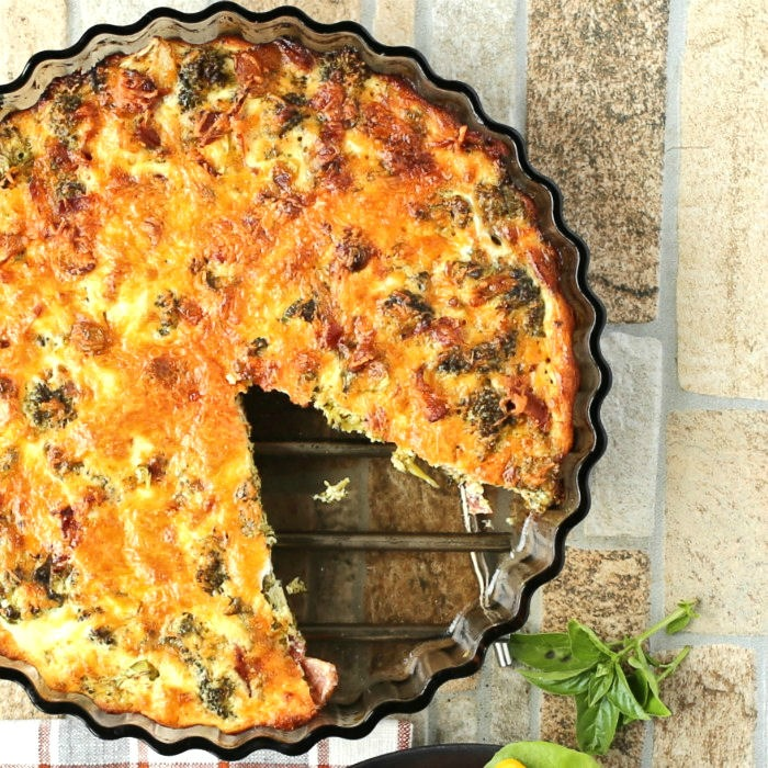 cut bacon quiche