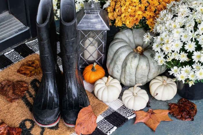 Fall greenery decor with heirloom pumpkins.