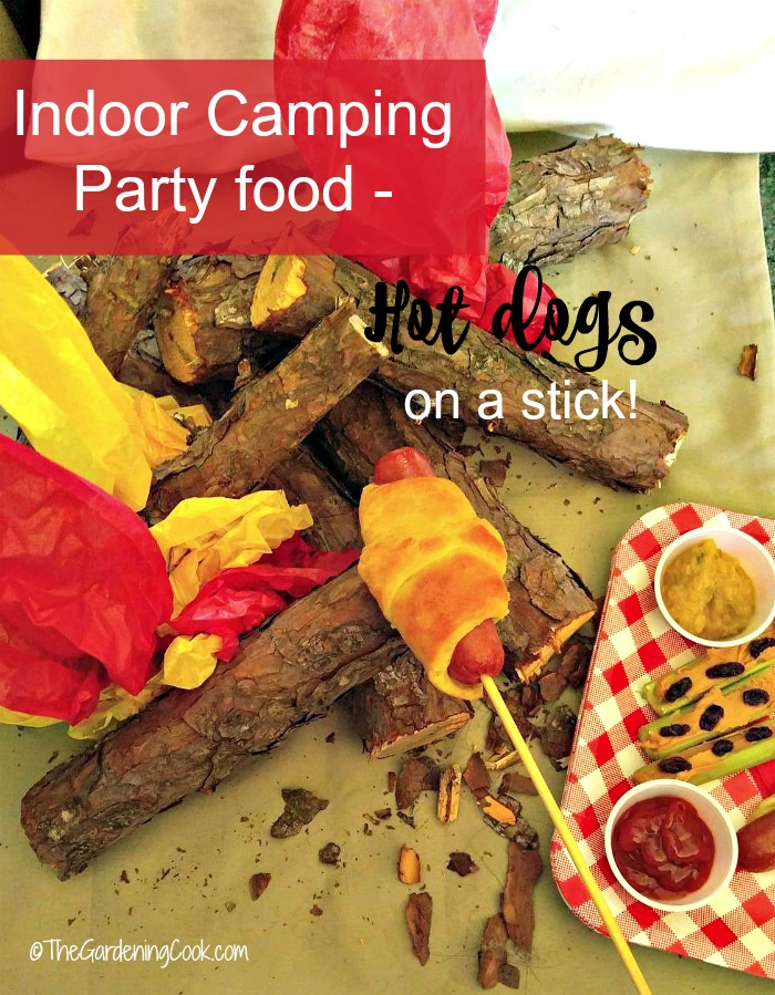 These fun hot dogs on a stick are wrapped in crescent dough and make the perfect party food for our indoor camping trip. #hotdogrecipe #campingfood #incoorcampingparty #campfirefood #easyrecipes