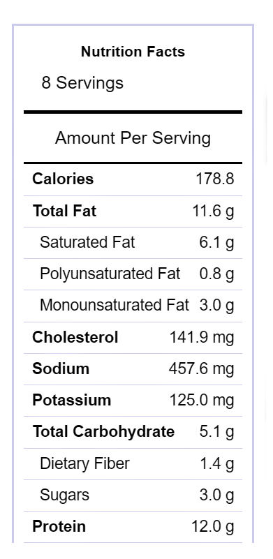 Quiche nutritional value