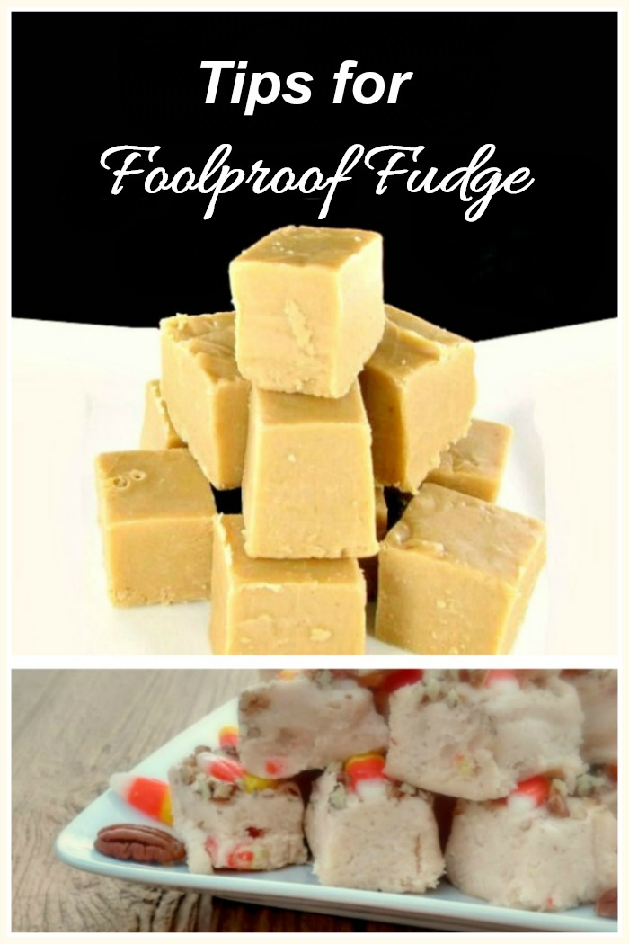"Piles of fudge with text reading ""tips for foolproof fudge."""