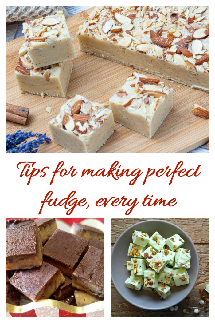 "Three types of fudge in a collage with words reading ""tips for making perfect fudge, every time."""