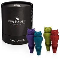 Owltoppers Bottle Stoppers(4 Pack, 2 Sizes) Wine Saver,Champagne Preserver, Decorative Silicone Bottle Cork Set, Unique Wine Lover Gift Idea