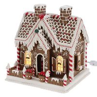 11 Inch Lighted Gingerbread House Holiday Decoration - Tabletop Christmas Decoration