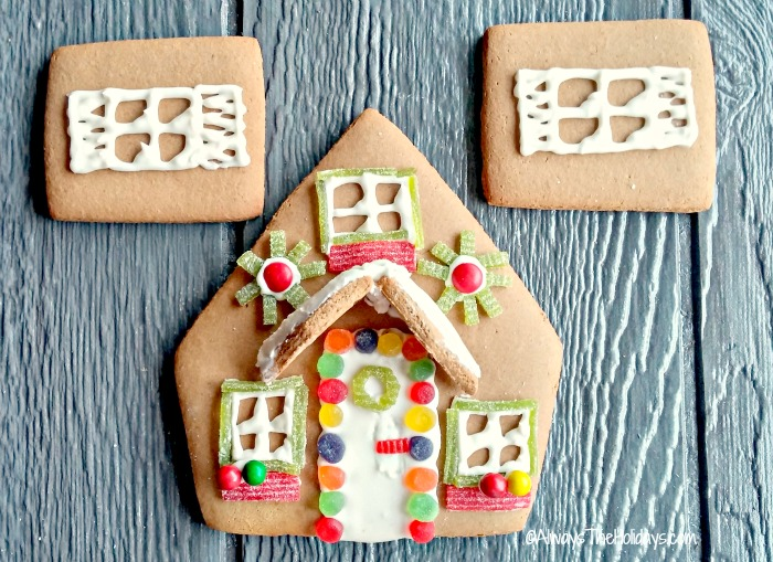 Decorated pieces of a gingerbread house.