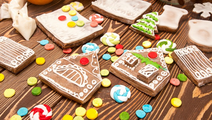 Decorated pieces for a gingerbread house.