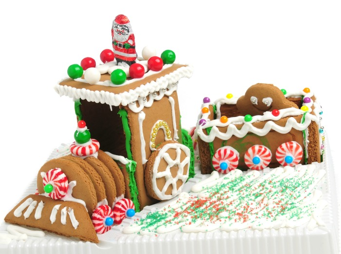 Train made of gingerbread with candy decorations.