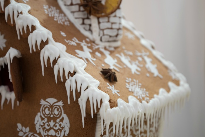 Icicles on a gingerbread roof.