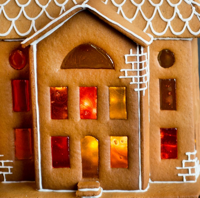 Stained glass windows in a gingerbread house.