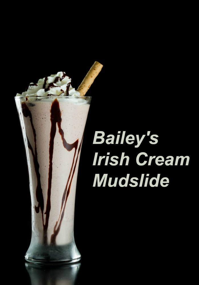 "Bailey's Irish Cream Mudslide cocktail in a tall glass with cinnamon stick and words reading ""Bailey's Irish Cream Mudslide."""