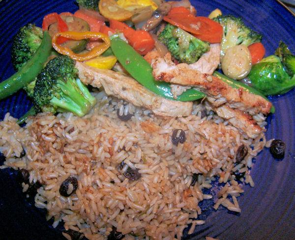 Thai Peanut Stir Fry and Brown Rice