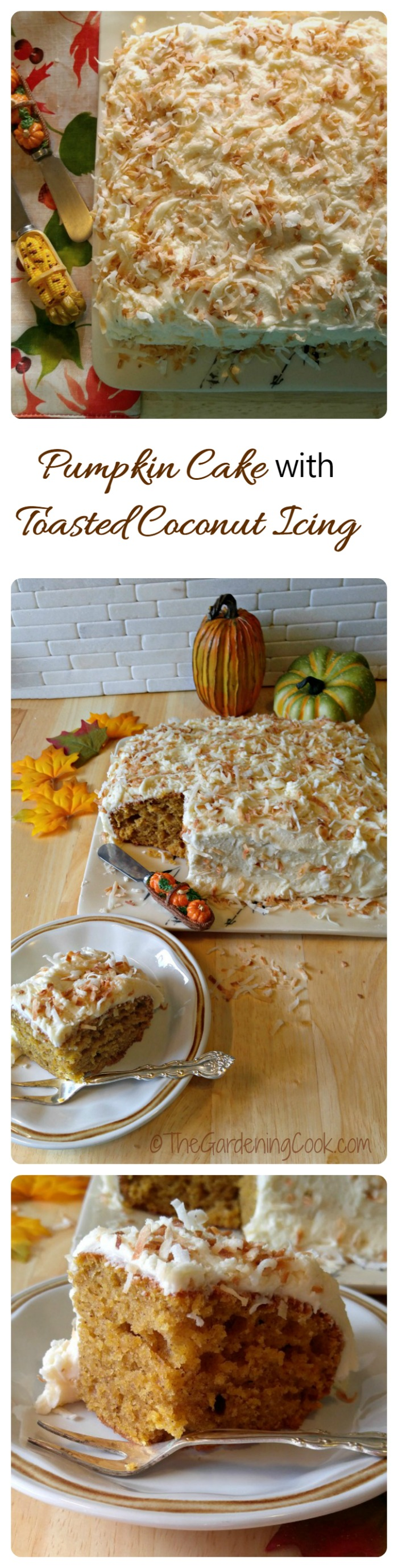 Pumpkin Cake with Toasted Coconut Frosting