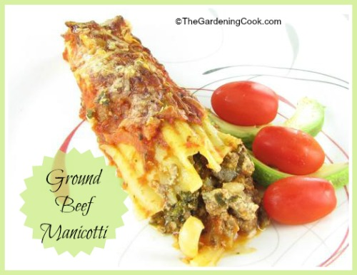 Ground Beef Manicotti with Fresh Vegetables